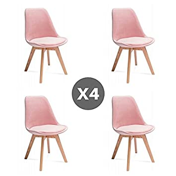 Tendencio Lot De 4 Chaises Style Scandinave Hugo Rose Amazonfr