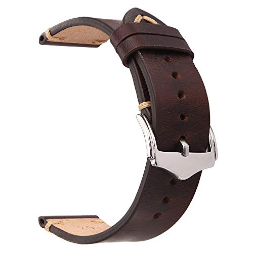 EACHE 20mm Genuine Leather Watch Band Dark Brown Oil Wax Natural Crack Leather Replacement Straps ()