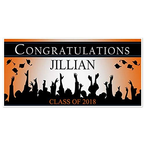 Graduation Banner Personalized Class of 2019 Party Backdrop - Burnt Orange - Outside Weatherproof Print