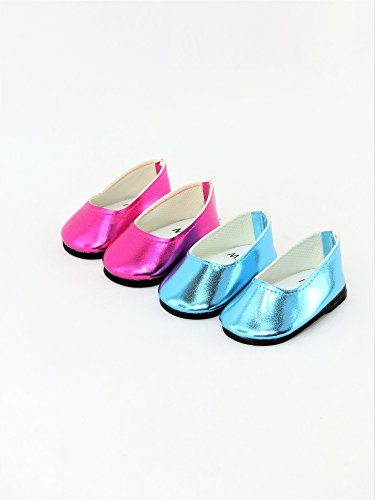 Pink Doll Shoes - 2 Pair Metallic Slip On Dress Shoes Metallic Hot Pink & Metallic Teal | Fits 18