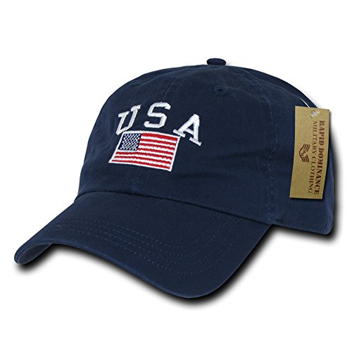 RAPID DOMINANCE Polo Style USA Caps, USA Navy