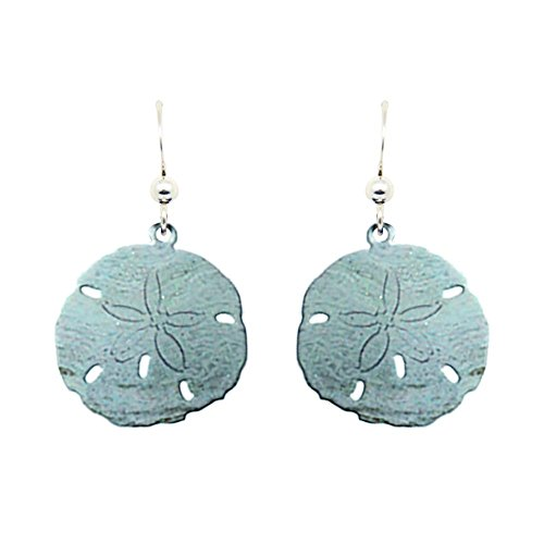 Aqua Sand Dollar Earrings by d'ears Non-Tarnish Sterling Silver French Hook Ear Wire