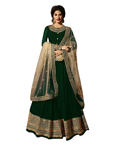 Delisa Indian/Pakistani Bollywood Party Wear Long Anarkali Gown for Womens NG (Green, SMALL-38)