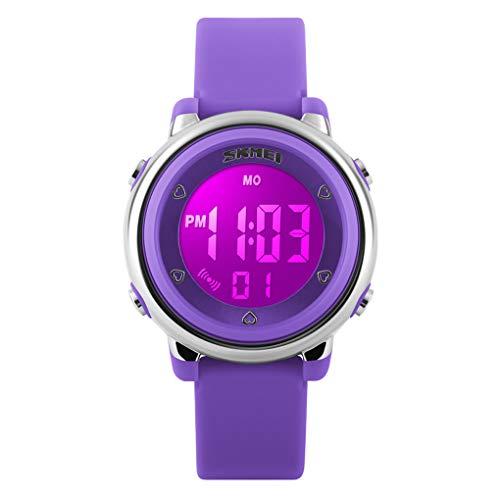 WUTONYU(TM) Children Digital Watch Kids Boy Girls LED Alarm Stopwatch Waterproof Wristwatches(Purple)