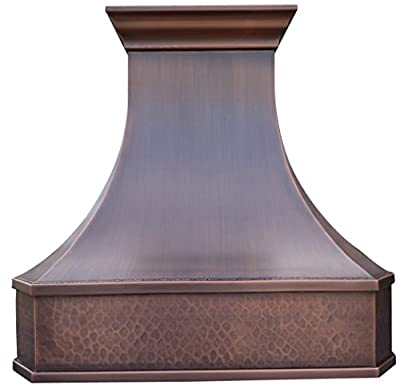 Copper Best H3 302130LS Copper Ventilation Hood with Range Hood Inserts 30 inches Wall Mount