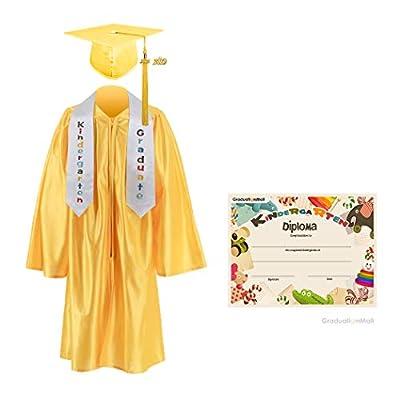 GraduationMall Kindergarten Graduation Cap Gown Stole Package with 2018 Tassel, Certificate (2019 optional)