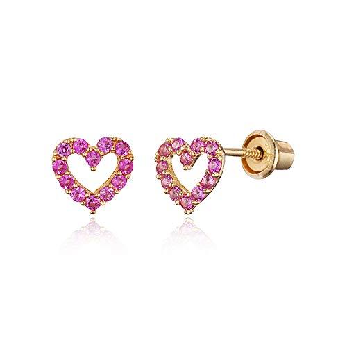14k Yellow Gold Pink Oct Heart Cubic Zirconia Children Screwback Baby Girls Earrings