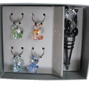 Cat Glass Wine Bottle Stopper with Charms