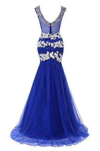 Prom Bridal Evening Dress V Neck Beaded Fuchsia Women's Bess Mermaid Appliques x0n8qwS0dz