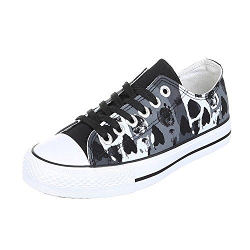 Sneakers Low Damenschuhe Schnürsenkel Ital-Design Freizeitschuhe Schwarz AN2895