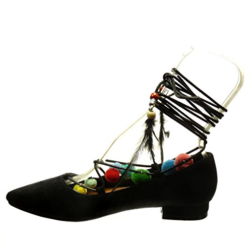 Angkorly - damen Schuhe Pumpe - Bommel - Perle Blockabsatz 2 CM - Schwarz