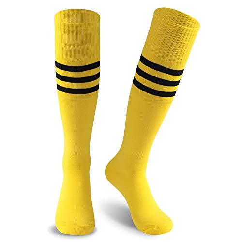 KitNSox Tall Yellow Soccer Socks Womens, Teen Girls Breathable Moisture Wicking Bright Long Tube Cheerleading School Team Uniform Volleyball Football Rugby Socks 2 Pairs ()