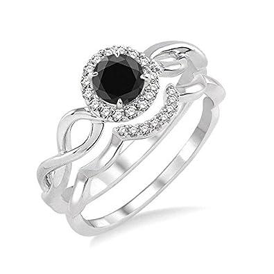 c090cc35fb28b7 Amazon.com: Limited Time Sale Infinity 1 Carat Round cut Black & White  Diamond Wedding Ring Set in 10k White Gold Bridal Engagement Ring Set:  Jewelry
