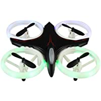 Mini Drone 2.4Ghz 4CH 6-Axis GYRO UFO RC Quadcopter Headless LED Attitude Hold (Black, 1pcs)