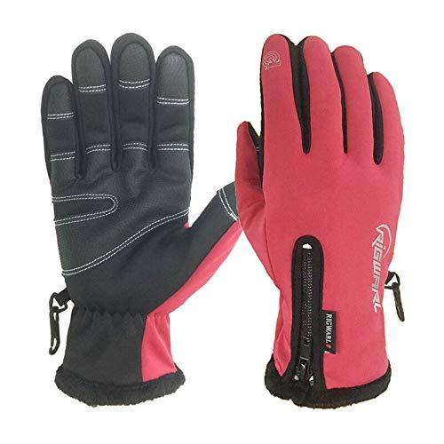 RIGWARL Cycling Gloves for Men,Winter Touch Screen Gloves with Waterproof and Windproof-Non-Slip Silicone Gel and Hand Warmers for Mens' Cycling and Running(Red)