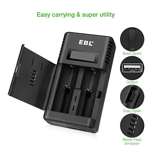 EBL Smart Battery Charger for Li-ion/IMR/Ni-MH/Ni-Cd 26650 18650 16340 RCR123 14500 10440 AA AAA AAAA C Rechargeable Battery with LED Flashlight(Battery Not Included) by EBL (Image #6)