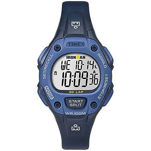Timex Women's TW5M14100 Ironman Classic 30 Mid-Size Blue Resin Strap Watch - Chrono Classic Ladies Watch