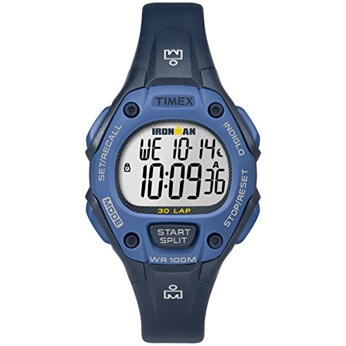 Timex 30 Mid Lap Ironman - Timex Women's TW5M14100 Ironman Classic 30 Mid-Size Blue Resin Strap Watch