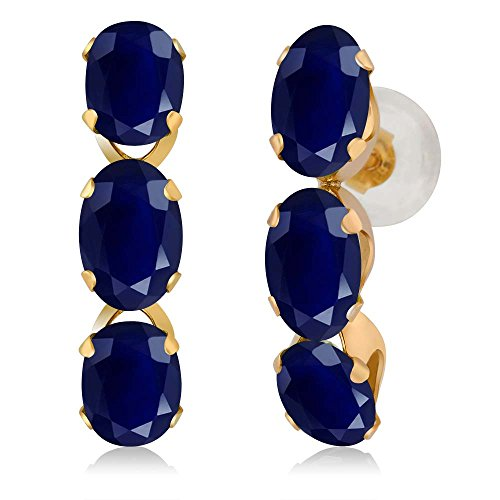 Gem Stone King 3.30 Ct Oval Blue Sapphire 14K Yellow Gold Earrings