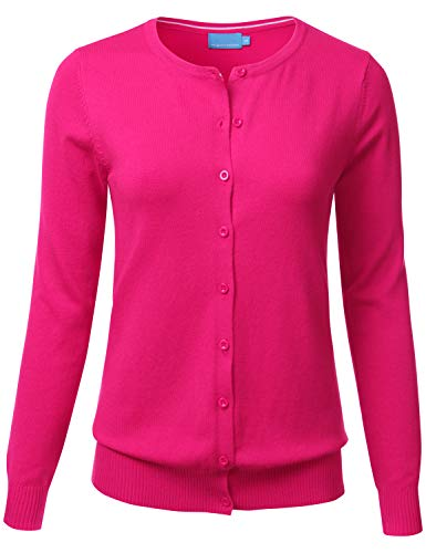 FLORIA Women's Button Down Crew Neck Long Sleeve Soft Knit Cardigan Sweater HOTPINK S ()