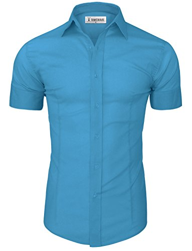 TAM Ware Mens Casual Slim Fit Short Sleeve Winkle Free Button Down Shirt