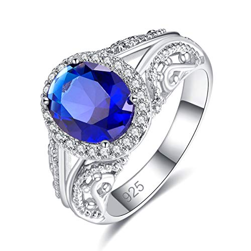 Emsione 925 Sterling Silver Plated Created Sapphire Quartz Classic 4-Prong Round Brilliant CZ Cut Halo Engagement Wedding Bands Eternity Ring for Women Size 7 Color Navy Blue