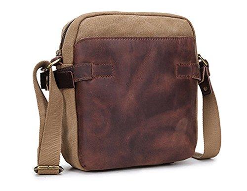 Izacu Flocc-BUG Lona bolso mensajero bolsa para hombre bolso de escuela (22*7*25cm, apricot) khaki