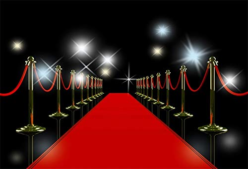 AOFOTO 5x3ft Polyester Red Carpet Welcome Backdrop Sparkle Spotlight Gold Bannister Red-Carpet Celebrity Famous Person Stars Portrait Photography Background Screen Video Drapes Photo Studio Props