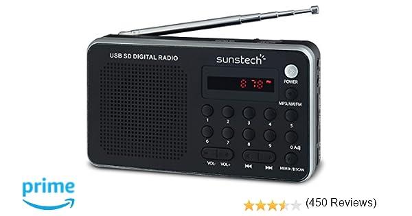 Sunstech RPDS32SL - Radio portátil digital (AM/FM PLL, altavoz, USB, SD, MMC, 1.5 W RMS) color plata: Amazon.es: Electrónica