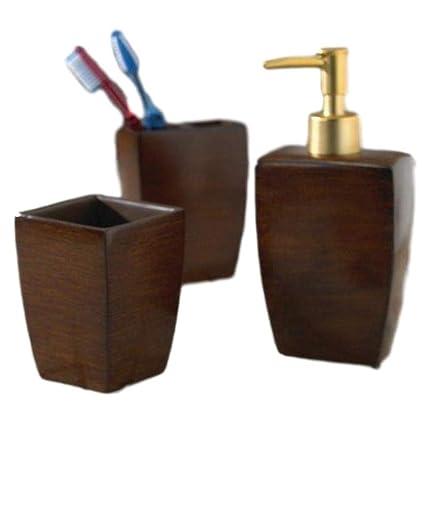Woodbridge Bathroom Accessory 3 Piece Set Walnut Color Amazon Ca