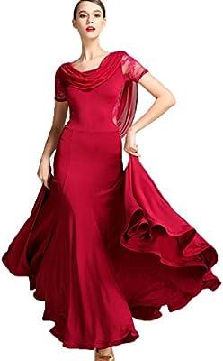Abiti da Valzer da Ballo da Donna per Foxtrot di Ballo di Flamenco Collo  Speciale Garza Maniche Corte Orlo Lungo ded03d58992