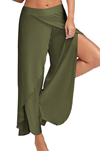 Yoga Leggings Pantaloni Ampia Lo Palazzo Donne Gamba Darkgreen Separati Le ECAPqawE