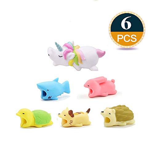 ??PACK 6?? iPhone Accessories Animal Bite Cable Protector, Cord Charger Protector, Cable Chompers, Unicorn, Shark, Cat, Rabbit, Hedgehog, Turtle Cable Saver ONLY for iPhone iPad Data Line by AnnyStore