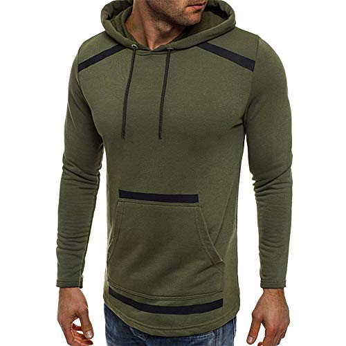 Fanteecy Mens Slim Fit Hoodie Color Block Pullover Hooded Sweatshirt Outwear Hoodies with Kanga Pocket (M, Dark Gray A)