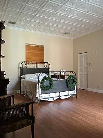 A la Maison Ceilings 1449 Romanesque Wreath- Styrofoam Ceiling Tile Package of 8 Tiles , Plain White