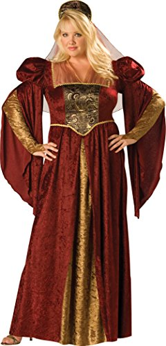 [InCharacter Costumes Women's Plus-Size Renaissance Maiden Plus Size Costume, Burgundy/Gold, 3X] (Plus Size Renaissance Costumes)