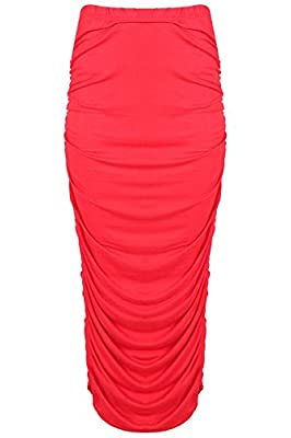 Oops Outlet Be Jealous Womens Stretchy Front Ruched Pencil Gathered Bodycon Long Maxi Skirt