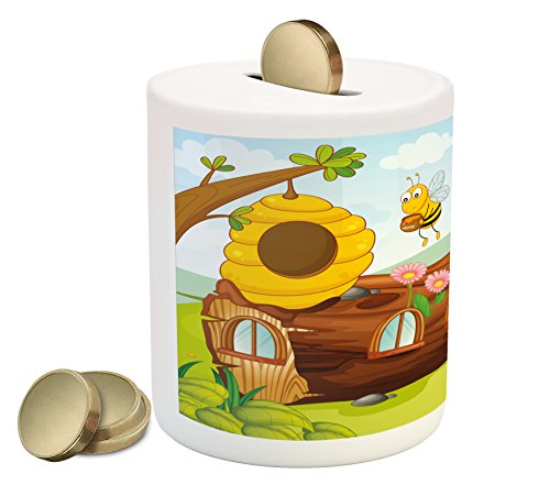 Flower Girl Piggy Bank - Lunarable Cartoon Piggy Bank, Kids Nursey Boys Girls Room Cute Bees Flowers Honeycomb Nature Inspired Image Art, Printed Ceramic Coin Bank Money Box for Cash Saving, Multicolor