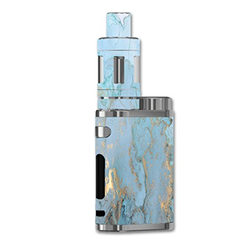 Skin Decal Vinyl Wrap for eLeaf iStick Pico 75W Vape Mod Skins Stickers Cover/Teal Blue Gold White Marble Granite