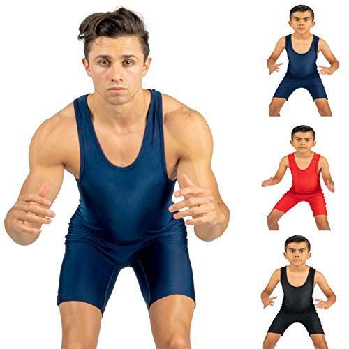 4-Time All American Solid Navy Wrestling Singlet Size 2XL ()