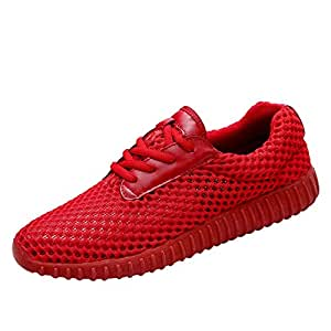 Shangruiqi Fashion Sneakers for Men Walking Shoes Lace Up Mesh Upper Experienced Stitched Cushioning Anti Slip Lightweight Leisure Tide Anti-Wear (Color : Red, Size : 6 UK)