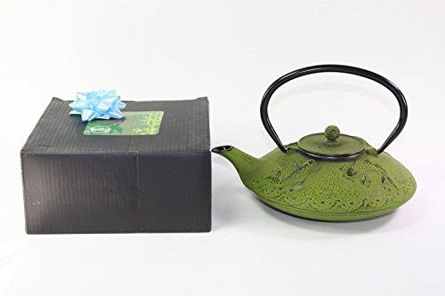 Japanese Antique 24 Fl Oz Green Fancy Carp Koi Fish Cast Iron Teapot Tetsubin with Infuser + Gift Bow Cast Iron Prosperity Teapot