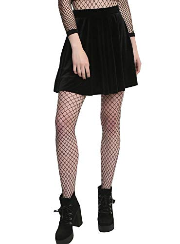 Halloween Costume Women's Party Wear Plain Sexy Velvet Mini Short Skirt with Pockets Black S