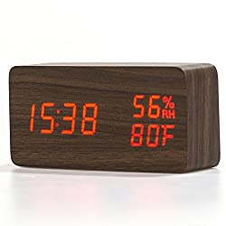 COOWOO Multi-function Wood Clock with Temperature and Humidity Display, Digital Sound Activated LED Alarm Clock(Brown)