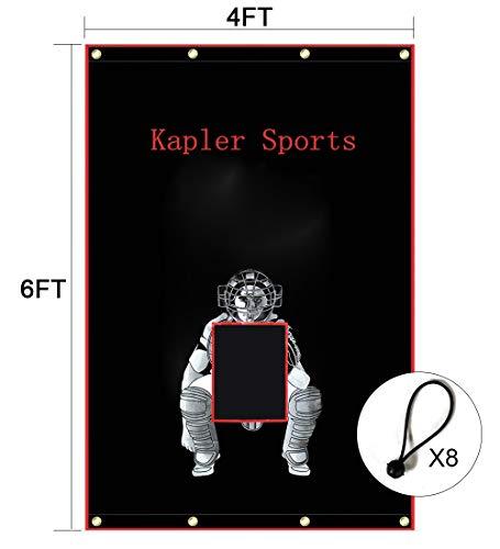 Kapler Vinyl Backstop Baseball/Softball Tarpaulin Backstop Batting cage Target with Bungees 4x6