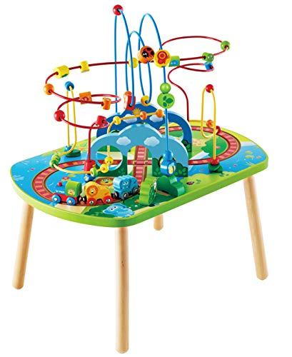 Hape Jungle Adventure Railway Table   Kids Bead Maze Puzzle Table with Accessories, African Scene Graphics, Child Sized Table for Individual and Group Play