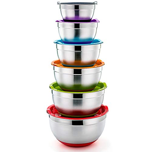 (P&P CHEF Mixing Bowls With Lids, Set of 6 (12 Piece), Stainless Steel Nesting Mixing Bowls & Tight Fitting Lids & Non-Slip Silicone Bottom, 6 Multi Size (1/1.5/2.5/3/4/5qt))