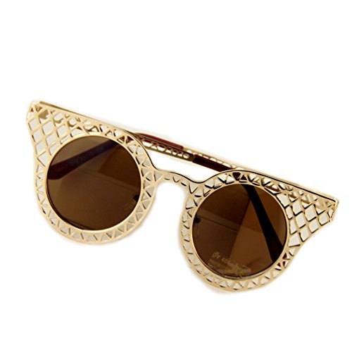 SUNROLAN Designe Inspired Bold Rim-Round Cateye Baroque Style Womens Oversized Fashion Sunglasses - Sunglasses Round Baroque
