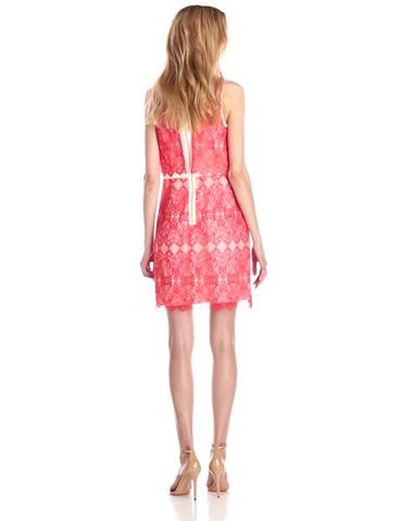Kensie Womens Viscose Lace-Trim Casual Dress Red XXL