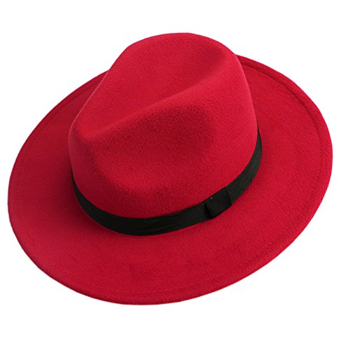 LING'S SHOP Vintage Men Women Jazz Bowknot Hard Felt Fedora Bowler Panama Wide Hat Brim Gangster Cap (Red)